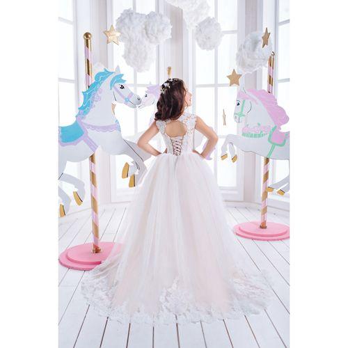 ac549415aa90c98 Платье со шлейфом Airin для девочки белое 162-1033 - купить по ...