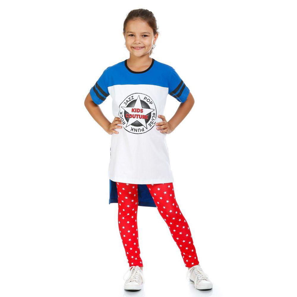 Футболка Kids Couture для девочки белая с синим 163-1773