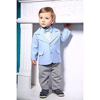 Модный костюм Gentlebaby с голубым пиджачком, серыми штанами, рубашечкой и бабочкой