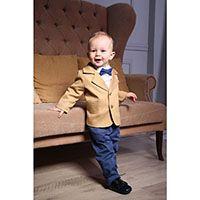 Красочный костюм Gentlebaby: золотистый пиджачек, голубые штанишки, рубашка и бабочка